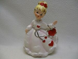 Vintage Relpo A-1840 Valentine Blond Girl with Heart Purse Planter Vase EXC