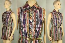 Vtg Retro Ikat Nylon Button Down Butterfly Collar Tunic Length Mini Dress S