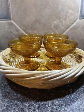 4 Vintage Glass Amber Gold Glass Pedestal Dessert Ice Cream Sherbet Bowl Dish
