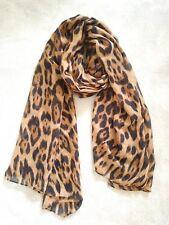Womens leopard printed scarf two tone fringe edge maxi viscose headscarf