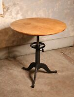 Antique Cast Iron leg base hand crank industrial table drafting desk wood top