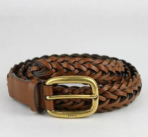 $495 New Gucci Light Brown Braided Leather Belt w/gold Buckle 85/34 380606 2535