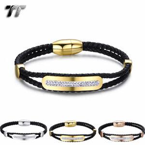 TT Black Leather 316L S.Steel Crystal Gem ID Bracelet Magnet Clip BR261 NEW
