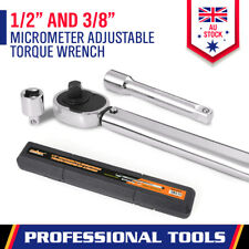 "Micrometer Torque Ratchet Wrench 28-210nm Adjustable 1/2"" & 3/8"" Dual Drive Case"