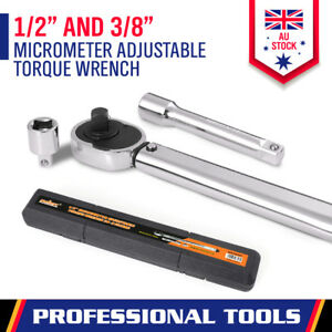 """Micrometer Torque Ratchet Wrench 28-210nm Adjustable 1/2"""" & 3/8"""" Dual Drive Case"""