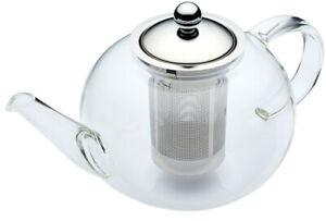 Kitchen Craft 1.4Ltr Glass & Stainless Steel Loose Leaf Tea Pot Infuser Teapot