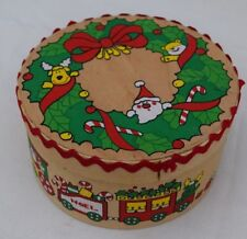 Hand Made Wood Christmas Holiday Train Round Gift Box