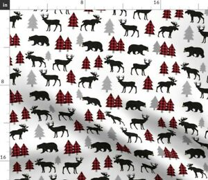 Plaid Red Deer Woodland Animals Bear Nursery Spoonflower Fabric by the Yard