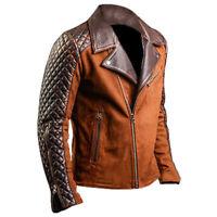 Men's Motorcycle Cafe Racer Biker Distressed Brown Suede Leather Jacket