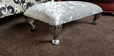 Footstool pouffe Stool Footrest With Queen Anne Legs Crushed velvet silver Glitz