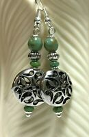Free Shipping Summer Silver Filigree Coin & Turquoise Czech Glass Beads Jewelry