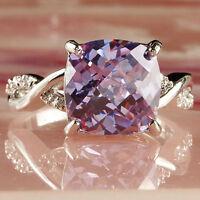 Hot Especial Tourmaline White Topaz Gemstone Silver Wedding Rings Size 6-9