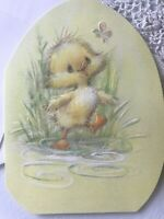 Unused Vintage Easter Card W/envelope Hallmark Chick Playing In Puddle