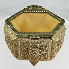 Vintage Gold Filigree Metal Jewelry Box Casket w/ Metal Rose Design Glass Lid