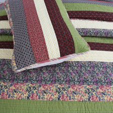 NEW! ~  CHIC COUNTRY COTTAGE GREEN BLUE PINK RED PURPLE PATCHWORK SOFT QUILT SET