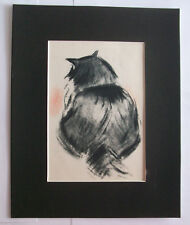 Black Cat Rear View Print Clare Newberry Bookplate 1950 8x10 Matted Adorable