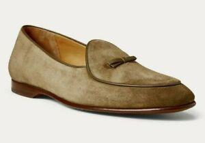 Ralph Lauren Purple Label Italy Mens Belvin Grey Olive Suede Slipper Shoes $895
