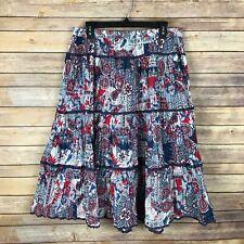 City Blues By Koret Womens Midi Skirt Cotton Crinkle Elastic Waist Paisley 14P