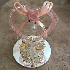 Hand Blown Glass Wedding Cake Topper Clear Gold Pink  Kissing Swans Heart & Rose