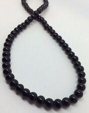 6mm Round Glass Beads - Black