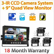 "9"" Quad Monitor Split Screen Reversing 3 Camera IR CCD 4PIN Kit Truck 24V/12V OZ"