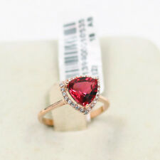 100% BRAND NEW Wedding Engagement 18K rose gold Red Three-Stone ring size 8