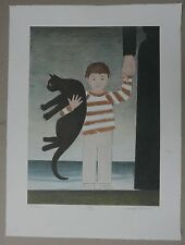 "Lithographie Originale WILL BARNET ""The Walk"" Enfant Garçon Chat Signé 45ex"