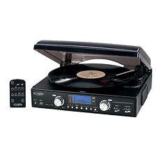 New Jensen 3-Speed Turntable Stereo Speakers AM/FM USB/SD Vinyl To MP3 Encoding