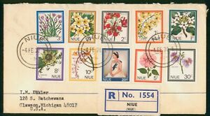 Mayfairstamps Niue 1970 Registered Flowers Combo Queen Cover wwp_64479