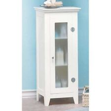 "small space saving slim 14"" narrow White bathroom organizer bath cabinet shelf"