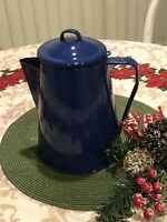 Enamelware coffee pot camp ware blue w/ white flecks, good preowned