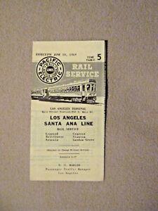 Pacific Electric Pocket Time Table - Los Angeles - Santa Ana - Jun. 10, 1949
