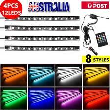 4X 9LED RGB Car Interior LED Strip Lights Wireless Remote Control Music 12V