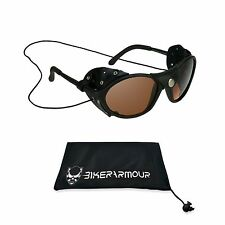 Leather HD Sunglasses with Strings Removable Side Shields Wind Guard