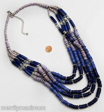 Chico's Signed Necklace Long Silver Tone Multi Strand Cobalt Blue & Purple Beads