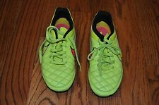 """Youth/Girls""""Nike 4; Leather Neon Yellow Cleets Athletic Shoes Size 2M Cute!"""
