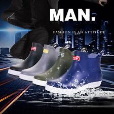 Summer Mens Low Top Rain boots Waterproof Flats Slip On Rubber Bootie Shoes 6-9