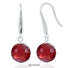 Sterling Silver Round Drop Dangle Earrings with Garnet Red CZ #53214