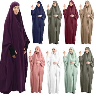 One Piece Khimar Women Muslim Burqa Hijab Dress Overhead Abaya Kaftan Jilbab New