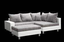 Wohnlandschaft ALIYA L Form Couch Sofa Ecksofa Schlafsofa Schwarz Weiß Hocker