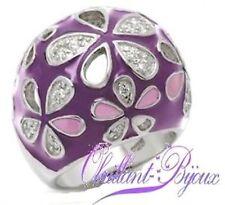 Bague rhodium bombé fleur violet parme pavé zirconium T52 mode PROMO BA20 neuf