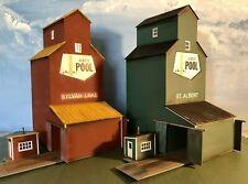 Built HO scale Walthers Cornerstone Alberta Rural Grain Elevators (4) Structures