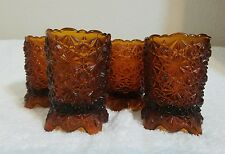 """4 Vintage Rare Amber Glass Votive Cup Sconce Candle Holders 3 1/4"""""""