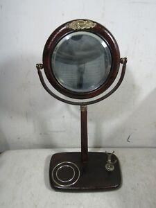 Antique Round Beveled Mirror Shaving Stand Brush Mug Holder Patented Jan 26 1904