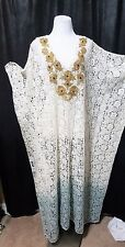 Soft Surrounding Jarana Caftan Cover up Lace Ombre Gold Floral Beaded XL
