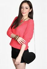 CatWalkClose York Knit Top in Neon Coral
