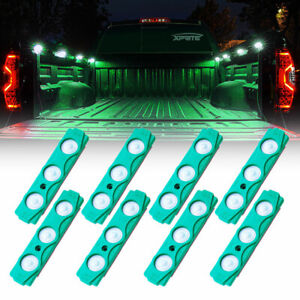 Xprite 8 Pods LED Rock Lights Kit Tow Trucks Cargo Bed Deck Neon Light Green