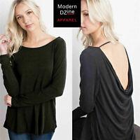 NWOT $39 Drape Back Long Sleeve Boat-Neck T-Shirt Top in Black | Sz L