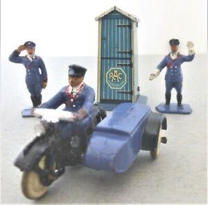 Rare Pre War Dinky Toys R.A.C Motor Cycle Patrol Set with Tinplate RAC Hut (1)