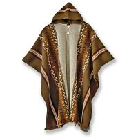 Llama Wool Mens Unisex South American Hooded Poncho Cape Coat Jacket Khaki Brown